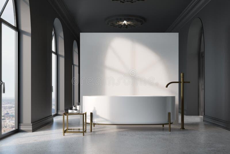 Серая и белая ванная комната, круглый ушат бесплатная иллюстрация