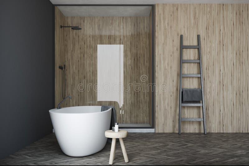 Серая и деревянная ванная комната, белый ушат, ливень иллюстрация штока