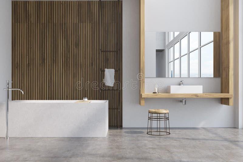 Серая и деревянная ванная комната, ушат иллюстрация штока