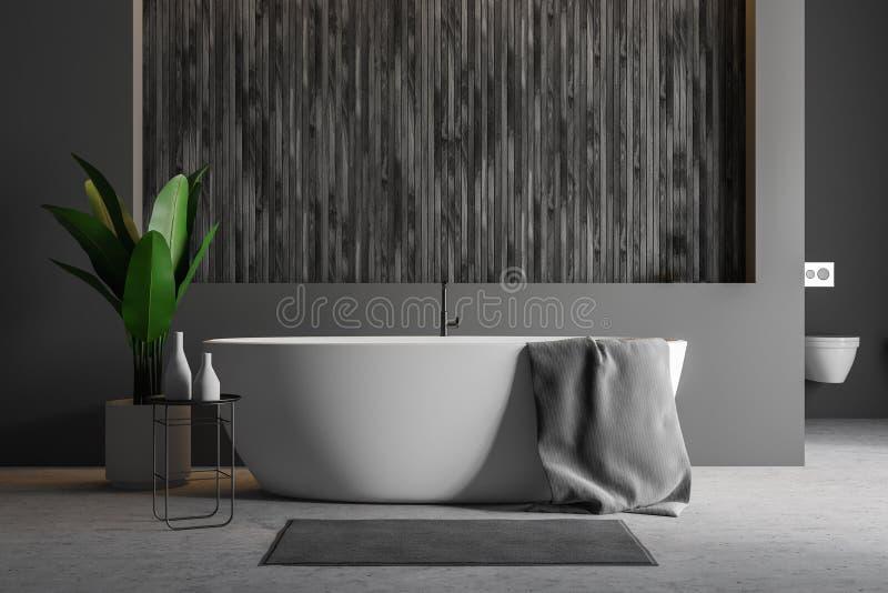 Серая и деревянная ванная комната, ушат бесплатная иллюстрация