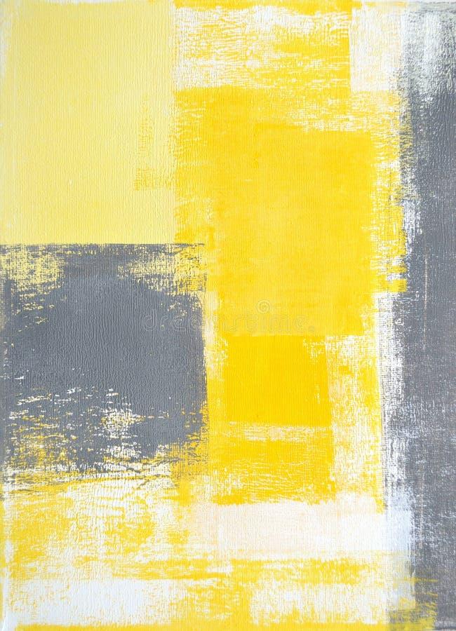 Серая и желтая картина абстрактного искусства стоковые изображения