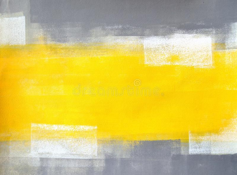 Серая и желтая картина абстрактного искусства стоковая фотография rf