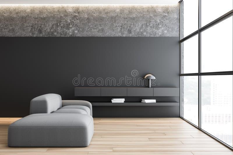 Серая и конкретная живущая комната с софой бесплатная иллюстрация