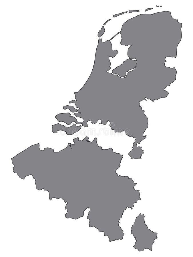 Серая карта Бенелюкса добавила расстояние между странами иллюстрация вектора