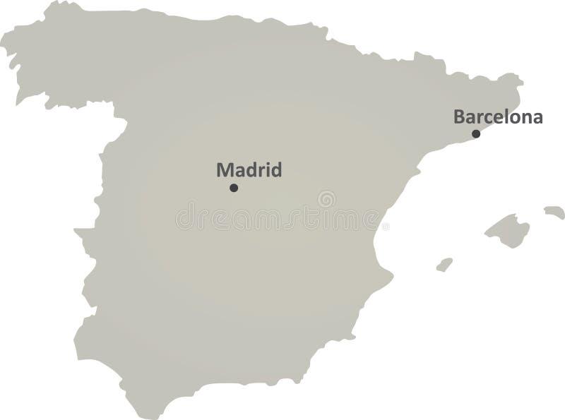 Серая карта Испании иллюстрация штока