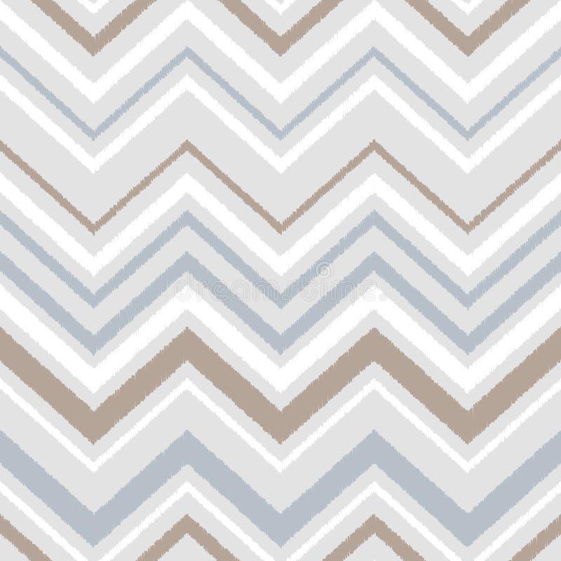 Серая картина голубой и белой ткани орнамента ikat шеврона геометрической абстрактной безшовная, вектор иллюстрация вектора