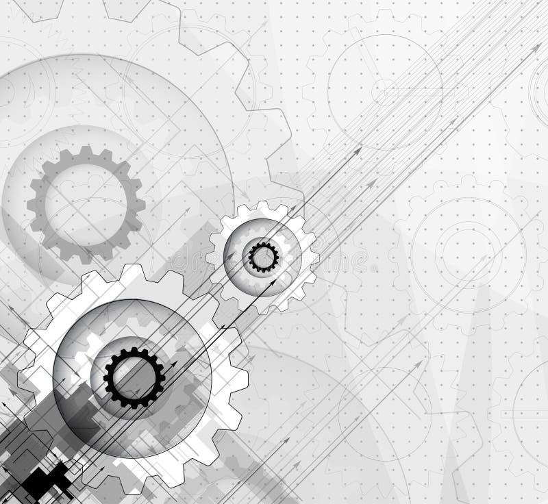Серая концепция шестерни для корпоративного бизнеса & develo новой технологии иллюстрация штока