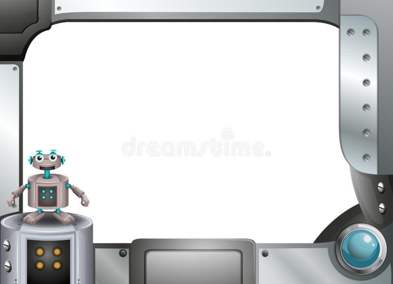 Серая металлическая рамка с роботом бесплатная иллюстрация
