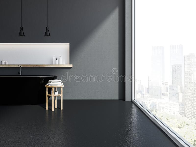 Серая панорамная ванная комната внутренняя, черный ушат бесплатная иллюстрация