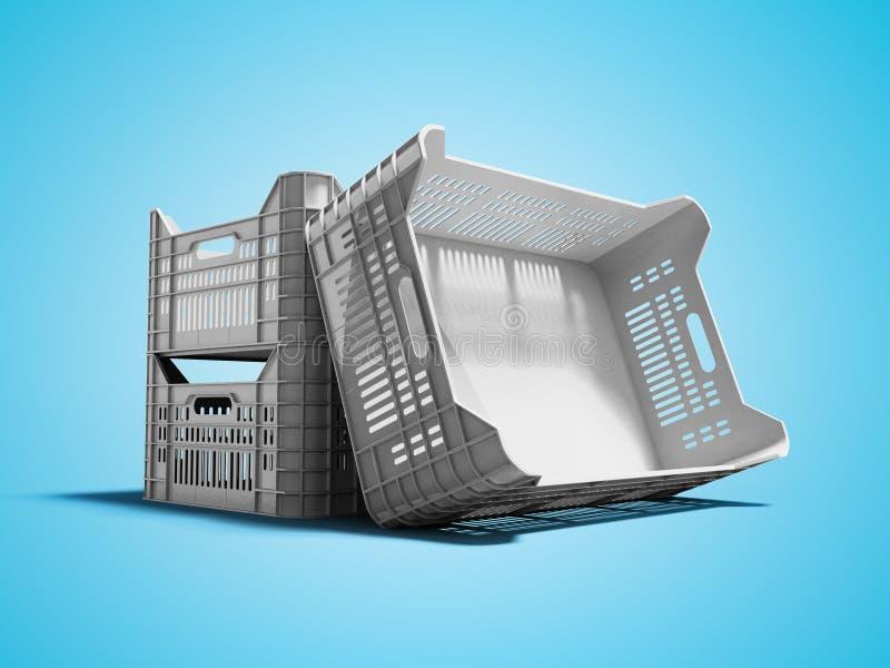 Серая пластиковая коробка для овощей перевозки товаров или плодов 3d представить на голубой предпосылке с тенью иллюстрация вектора