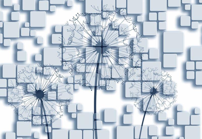 серая предпосылки настенной росписи 3d белая и серебряная предпосылка с силуэтами одуванчиков, современное 3d представляет прямоу иллюстрация вектора