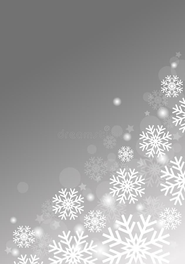 Серая предпосылка с снежинками стоковая фотография