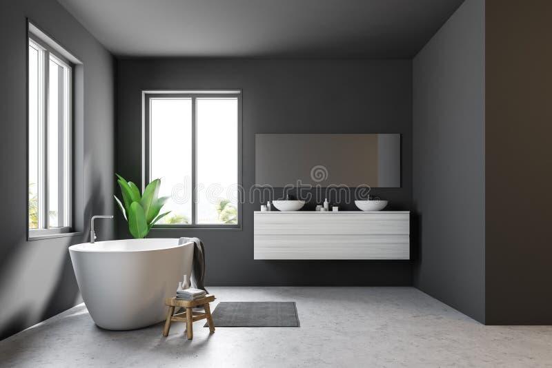 Серая скандинавская ванная комната, ушат, раковина, взгляд со стороны иллюстрация вектора