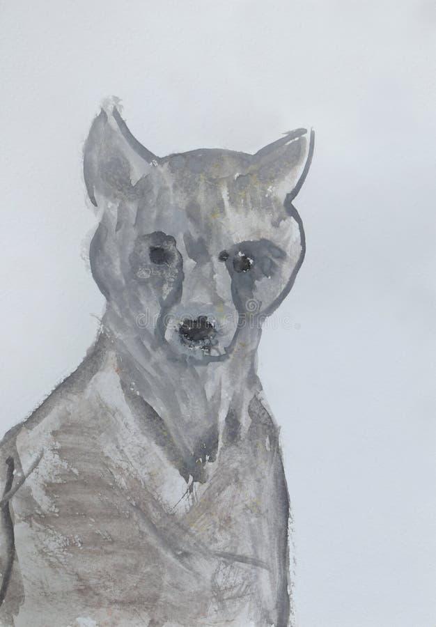 Серая собака щенок дети рисуя s Изображение акварели иллюстрация штока