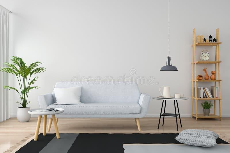 Серая софа в белой живущей комнате, переводе 3D стоковые фотографии rf