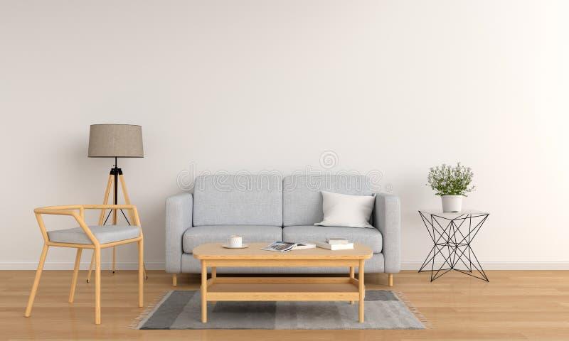Серая софа в белой живущей комнате, переводе 3D иллюстрация вектора