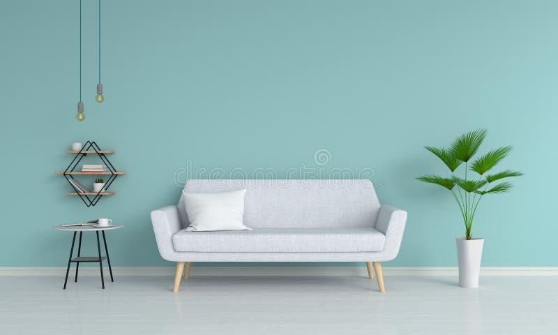 Серая софа в живущей комнате, переводе 3D иллюстрация вектора