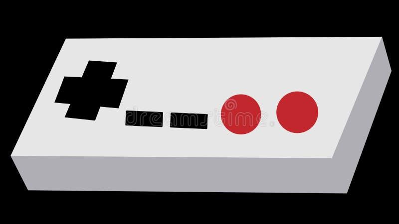 Серая старая ретро античная винтажная консоль манипулятора кнюппеля битника от 80 ` s, 90 ` s для консоли игры для видеоигр на a иллюстрация вектора