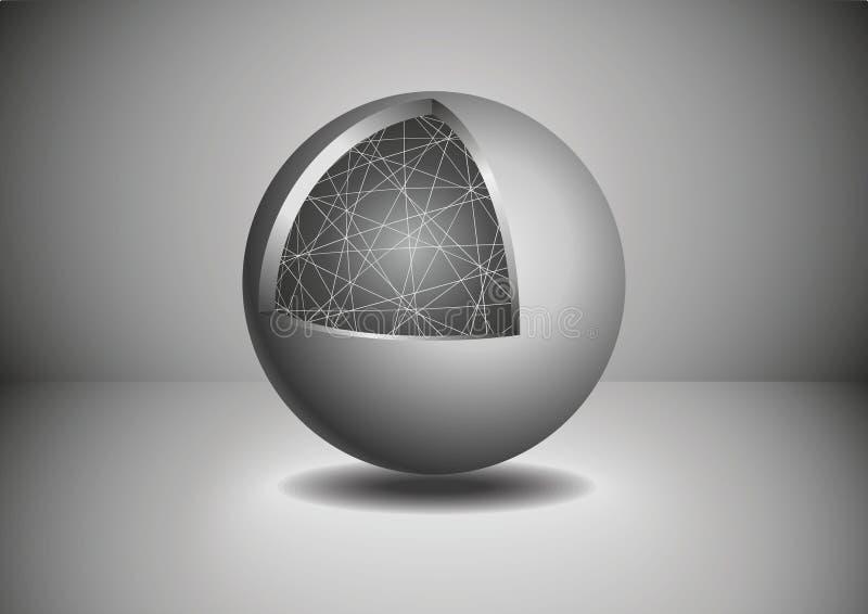 Серая сфера конспекта 3D также вектор иллюстрации притяжки corel иллюстрация вектора