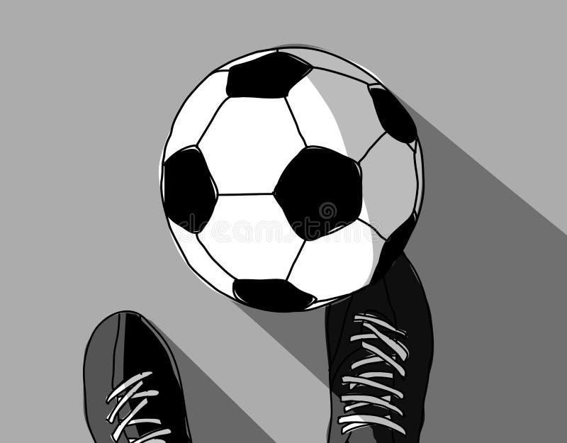 Серая шкала взгляд сверху футболиста и футбольного мяча иллюстрация вектора