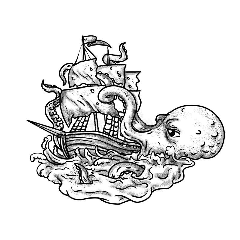 Серая шкала татуировки корабля Kraken атакуя иллюстрация штока