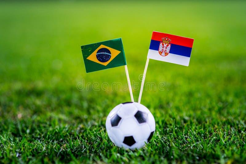 Сербия - Бразилия, группа e, Wednesday, 27 Футбол -го июнь, кубок мира, Россия 2018, национальные флаги на зеленой траве, белом b стоковое изображение rf
