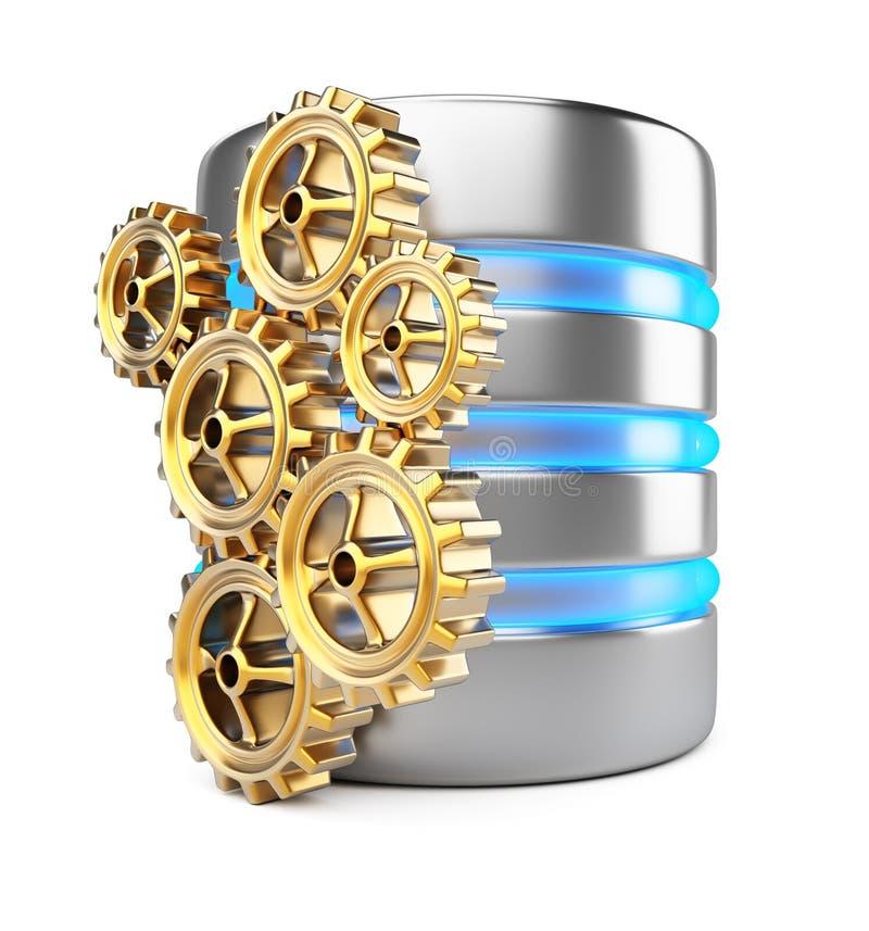 Сервер базы данных и cogwheels иллюстрация штока
