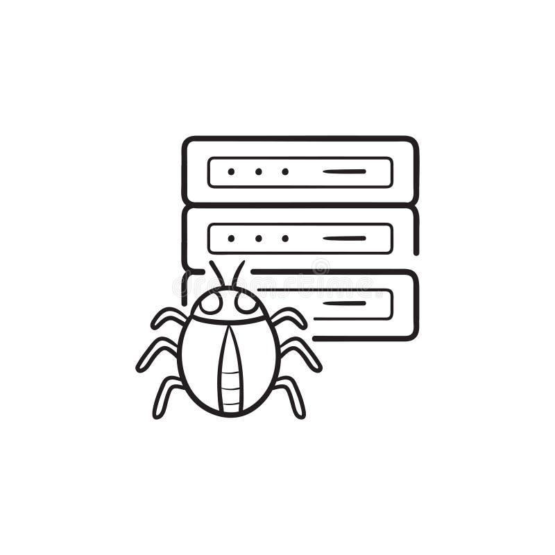 Сервер зараженный malware с нарисованной рукой ошибки конспектирует значок doodle иллюстрация вектора