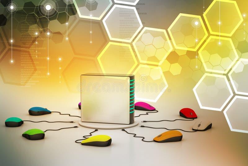 Сервер компьютера соединенный мышью иллюстрация штока