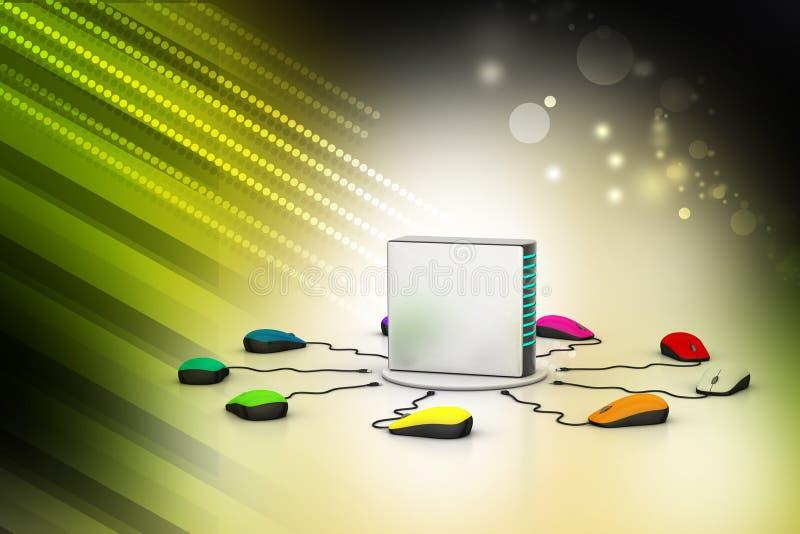 Сервер компьютера соединенный мышью иллюстрация вектора