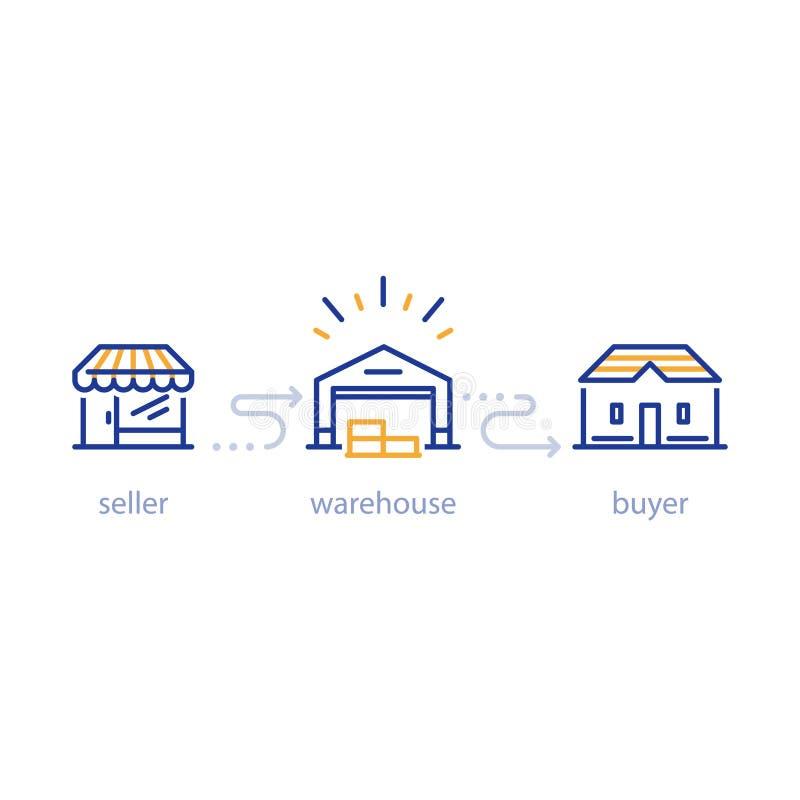 Сервисы по распределению, склад и транспорт, комплект значка бесплатная иллюстрация