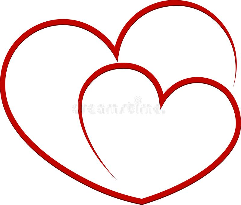Linear red heart, hand drawing icon, doodle stile, vector illustration royalty free stock images