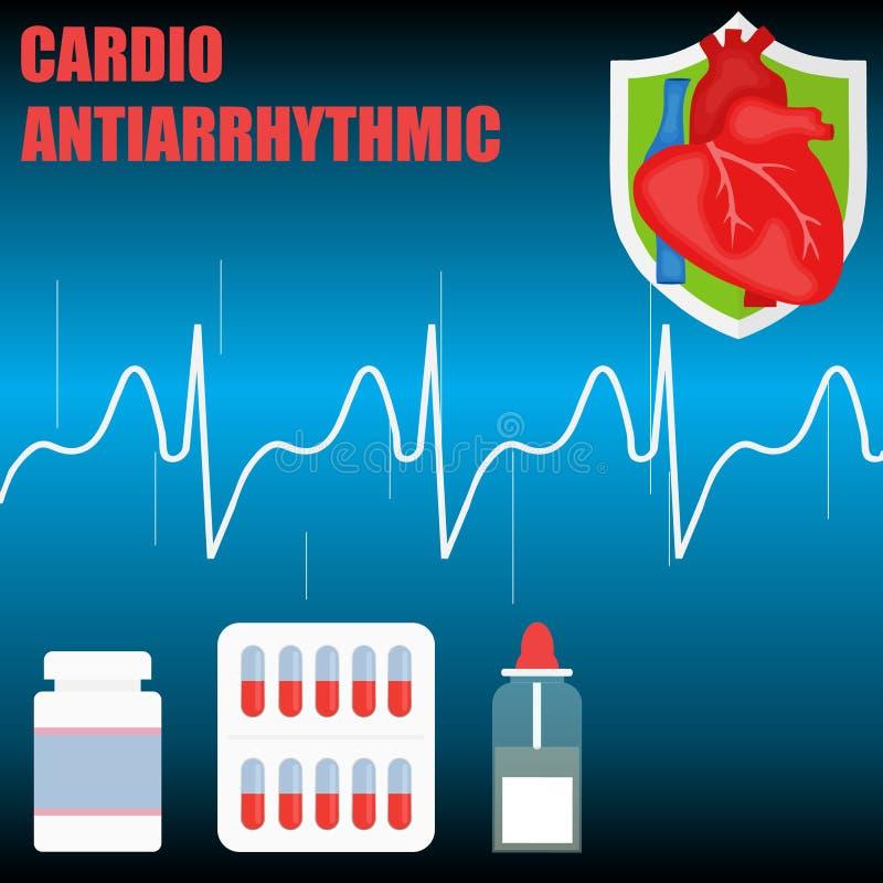 Сердечная противоаритмическая концепция Концепция здорового сердца иллюстрация вектора