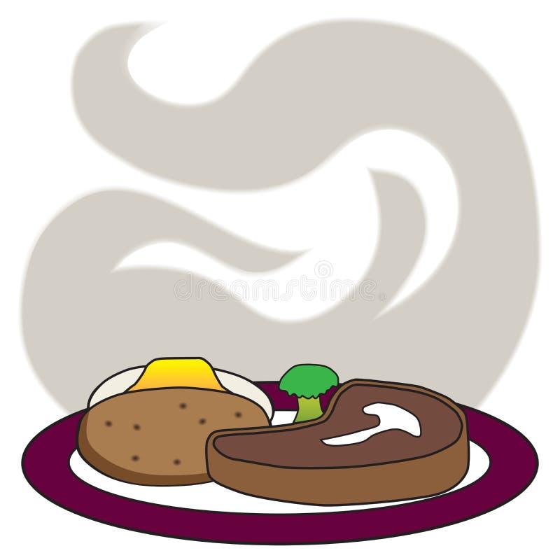 Сердечный обедающий стейка иллюстрация штока