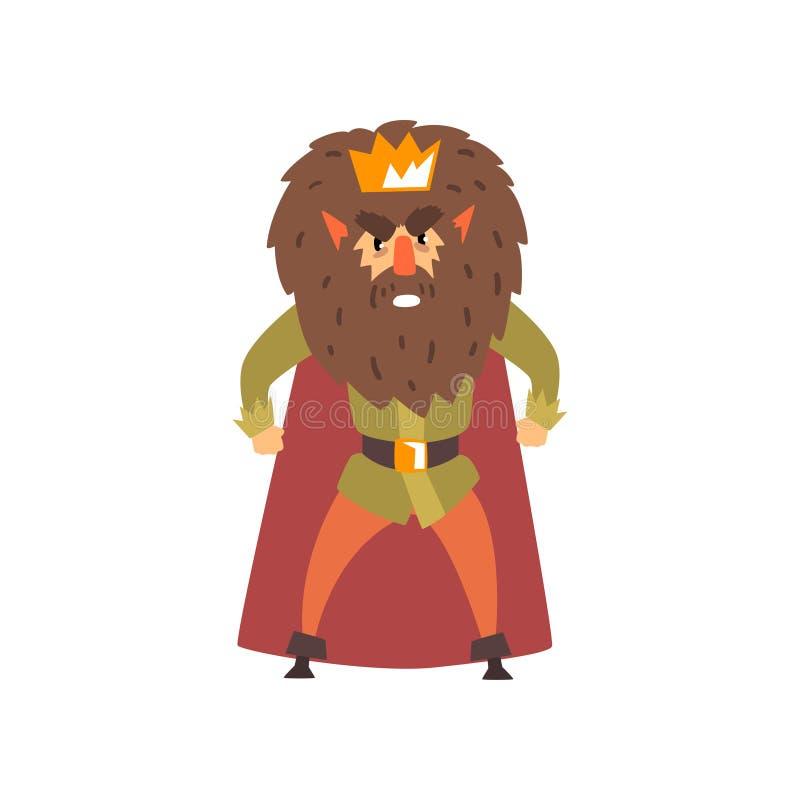 Сердитая бородатая иллюстрация вектора шаржа характера короля на белой предпосылке иллюстрация штока