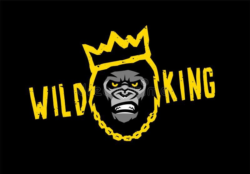 Сердитая горилла с кроной Дикий король на темной предпосылке r иллюстрация штока