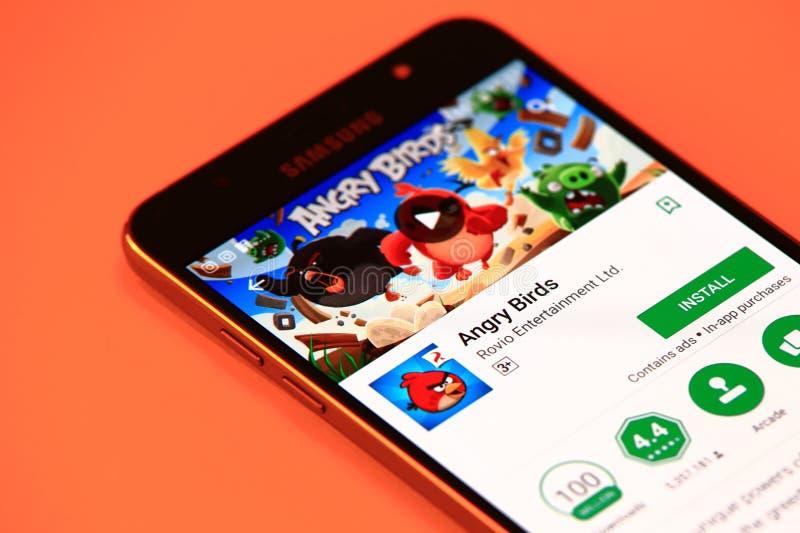 Сердитая игра птиц на smartphone стоковая фотография rf
