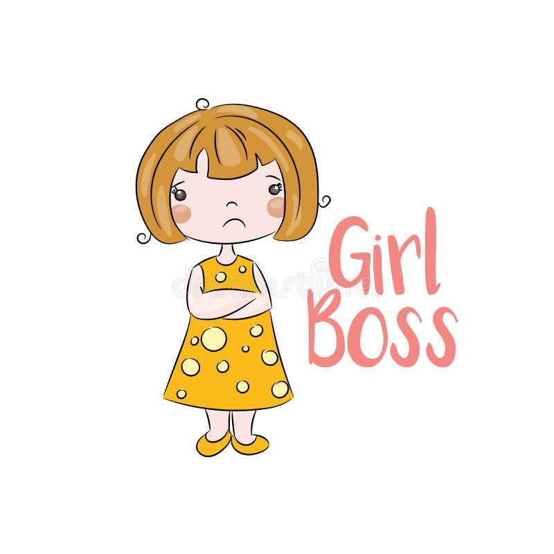 Сердитая и милая маленькая девочка иллюстрация вектора