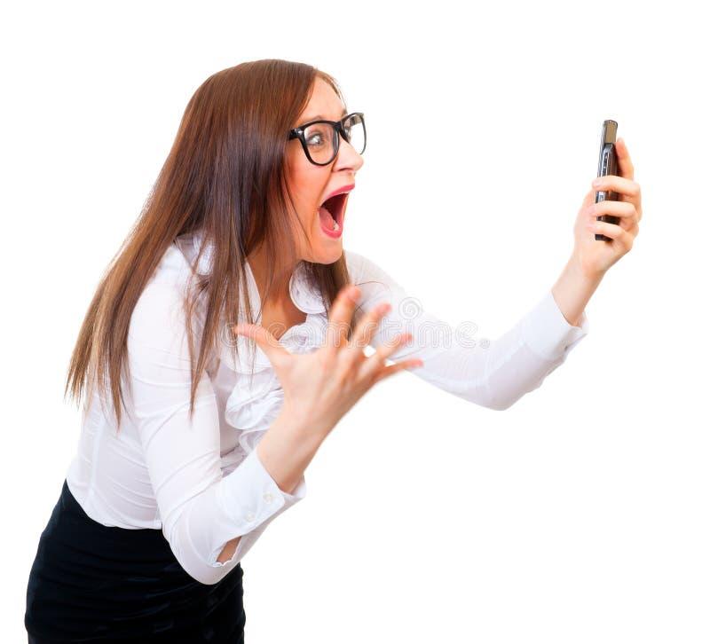 сердитая коммерсантка screaming стоковое фото