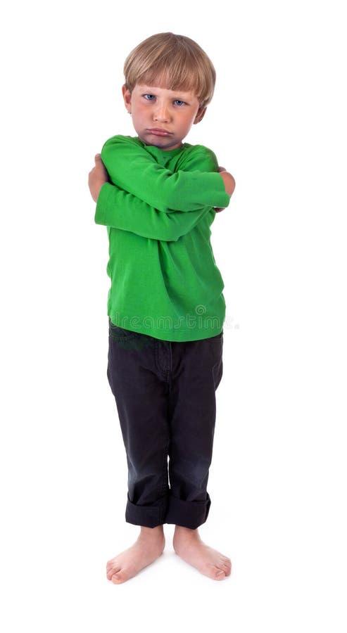 сердитая мальчика белизна очень стоковое фото