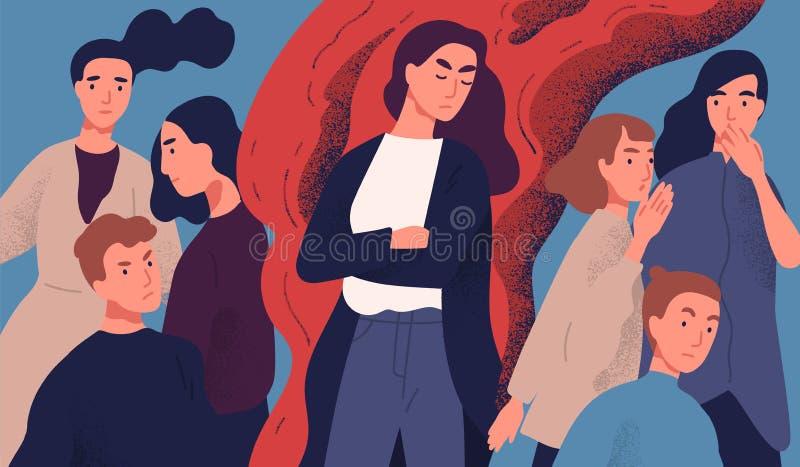 Сердитая молодая женщина среди людей не охотно готовых для того чтобы поговорить с ей Концепция проблемы в общении с неприятное з иллюстрация штока