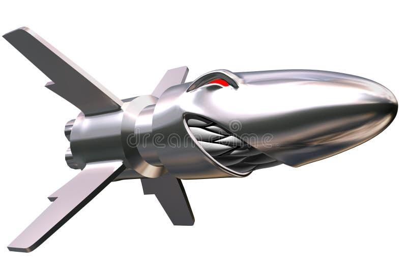 сердитая ракета летания иллюстрация вектора