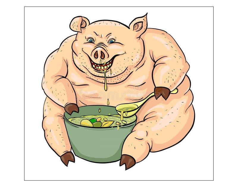 Сердитая свинья хряка иллюстрация штока