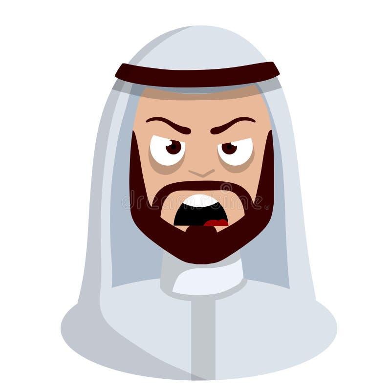 Сердитая сторона арабского человека в белом национальном платье иллюстрация вектора