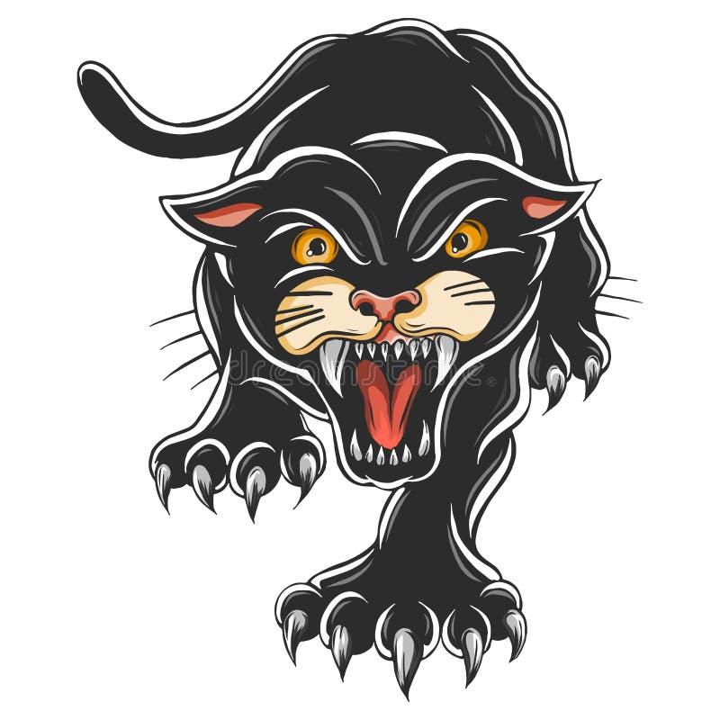 Сердитая черная пантера Атакуя представление Иллюстрация вектора татуировки иллюстрация штока
