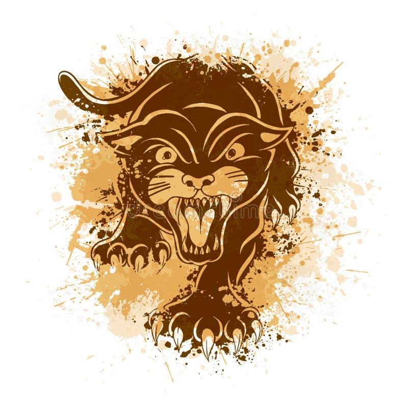 Сердитая черная пантера Атакуя представление Иллюстрация татуировки бесплатная иллюстрация