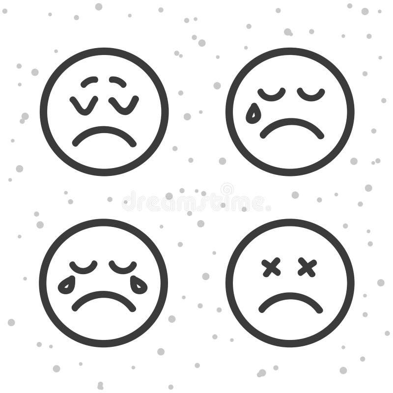 Сердитые значки Smiley Плакать и несчастные символы смайликов иллюстрация штока