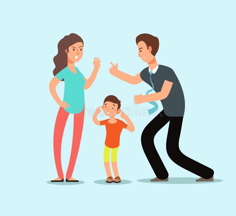 Сердитые супруг и жена присягают внутри присутсвию несчастного вспугнутого ребенк Концепция шаржа вектора конфликта семьи иллюстрация вектора