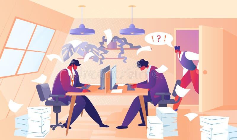 Сердитый босс выкрикивая на работниках офиса работника иллюстрация вектора