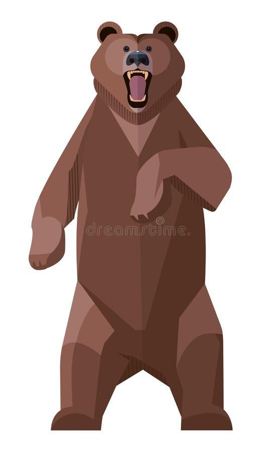 Сердитый бурый медведь иллюстрация штока
